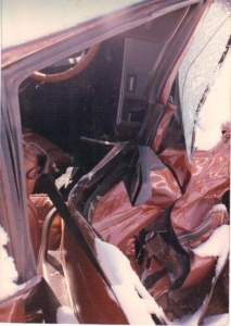 another inside crushed car